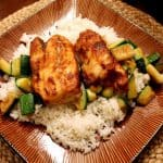 Soy-Glazed Fish with Sauteed Zucchini & Rice