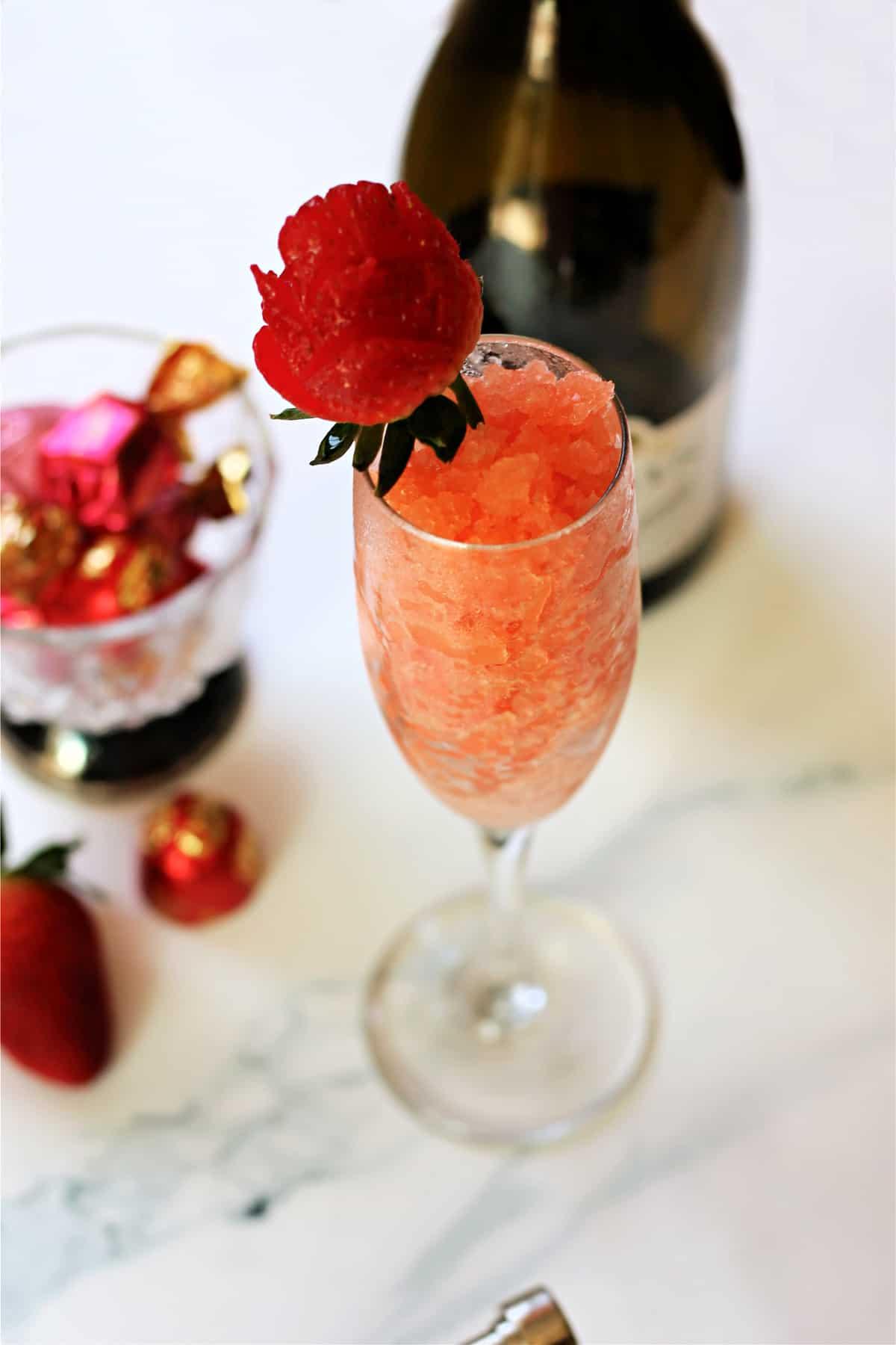 Close up of Strawberry & Champagne Granita in a champagne flute.