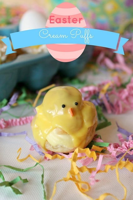 These adorable Easter cream puffs are cute little Easter chicks filled with sweet whipped cream and a sweet, creamy glaze