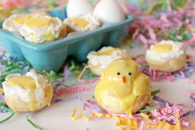 These sweet little cream filled Easter cream puffs are filled with a light whipped cream and decorated as adorable little Easter chicks