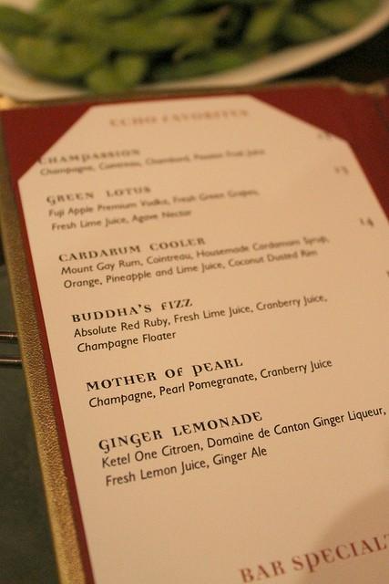 Echo Restaurant cocktail menu in Palm Beach, Florida.