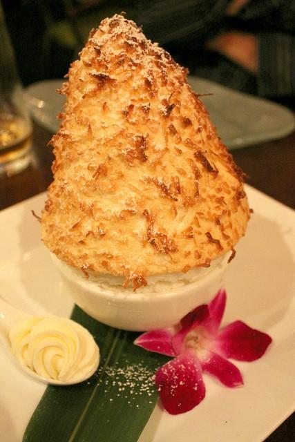 Coconut Souffle with Malibu Coconut Cream at Echo Restaurant in Palm Beach, Florida.