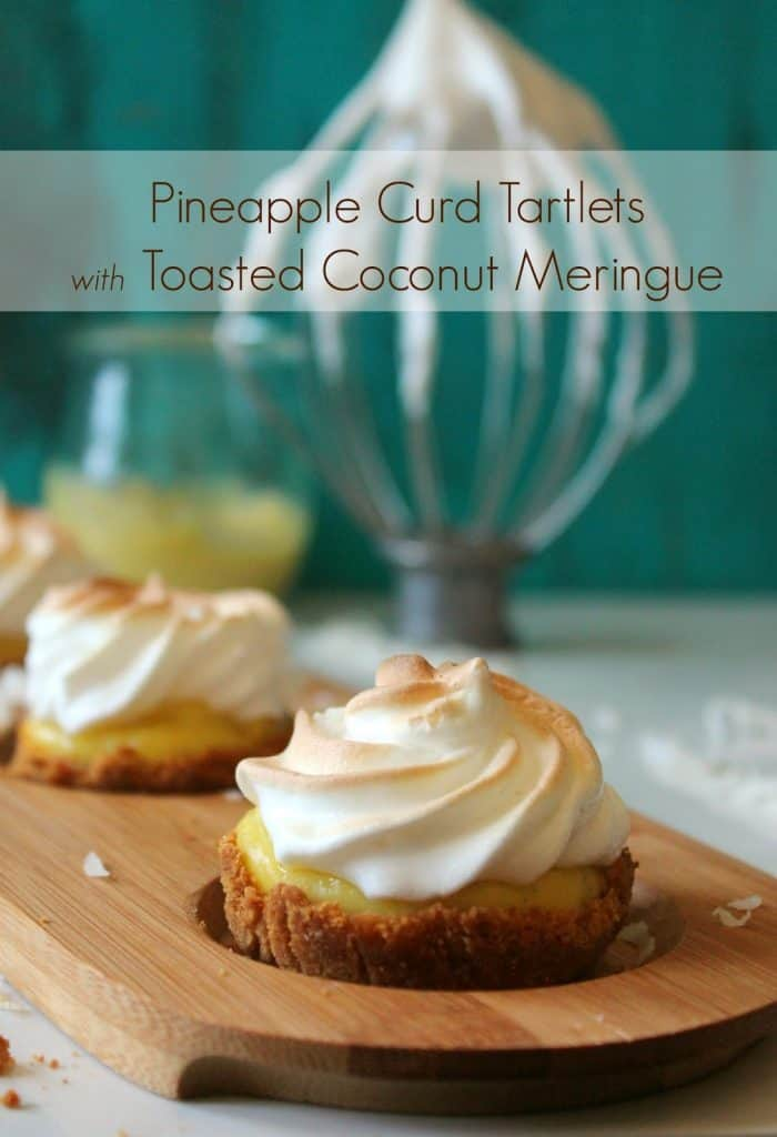 Sweet pineapple curd tartlets with a light, sweet coconut meringue topping