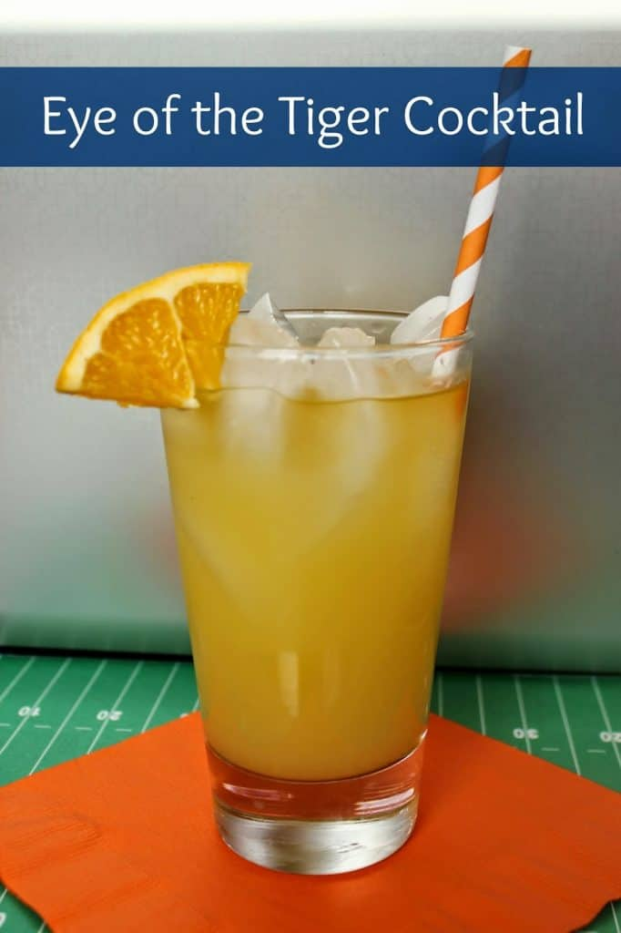 Auburn University inspired Eye of the Tiger cocktail is a sweet game day drink with fruit juice