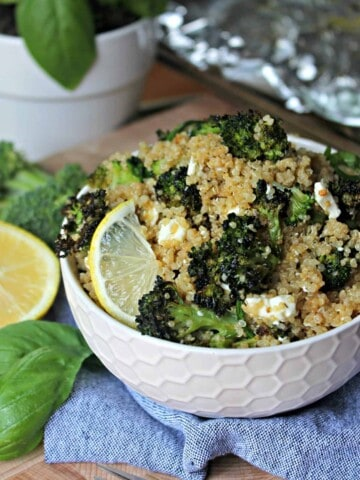 Roasted Broccoli & Feta Quinoa! This easy & healthful recipe is so versatile -- serve hot or at room temperature as a salad, side dish or add a protein and enjoy it as a main dish!