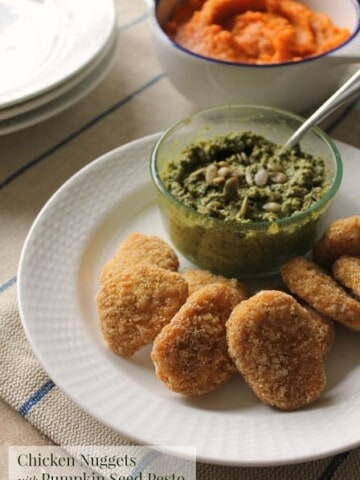 Chicken Nuggets with Pumpkin Seed Pesto