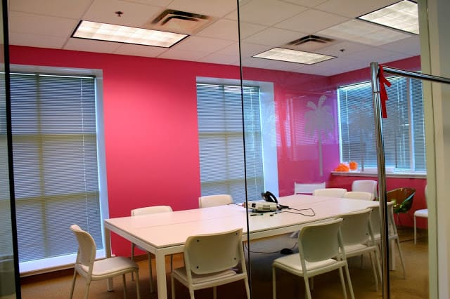 A very pink Lilly Pulitzer meeting room