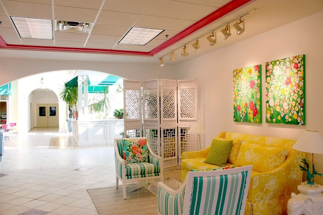 The inside of Lilly Pulitzer headquarters reflects her island destination style with bright colors and floral patterns