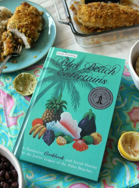 The recipe for Lilly Pulitzer baked chicken comes from this Palm Beaches Entertains cookbooks from 1979