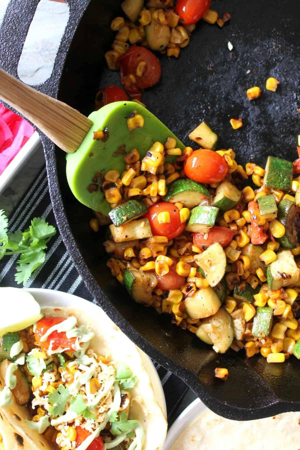 Charred Corn, Zucchini & Tomato Tacos