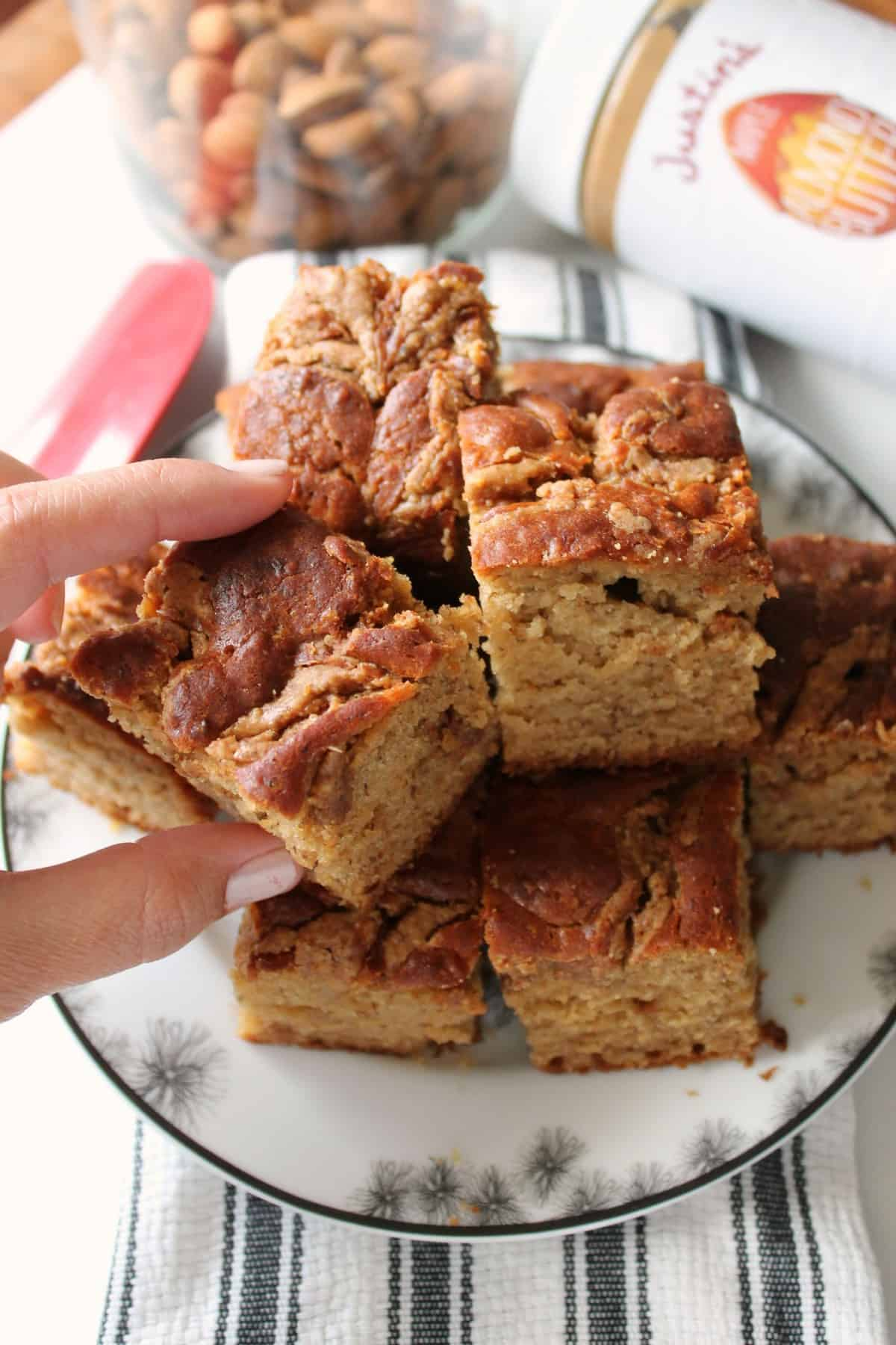 Almond Butter Swirl Banana Bread Squares