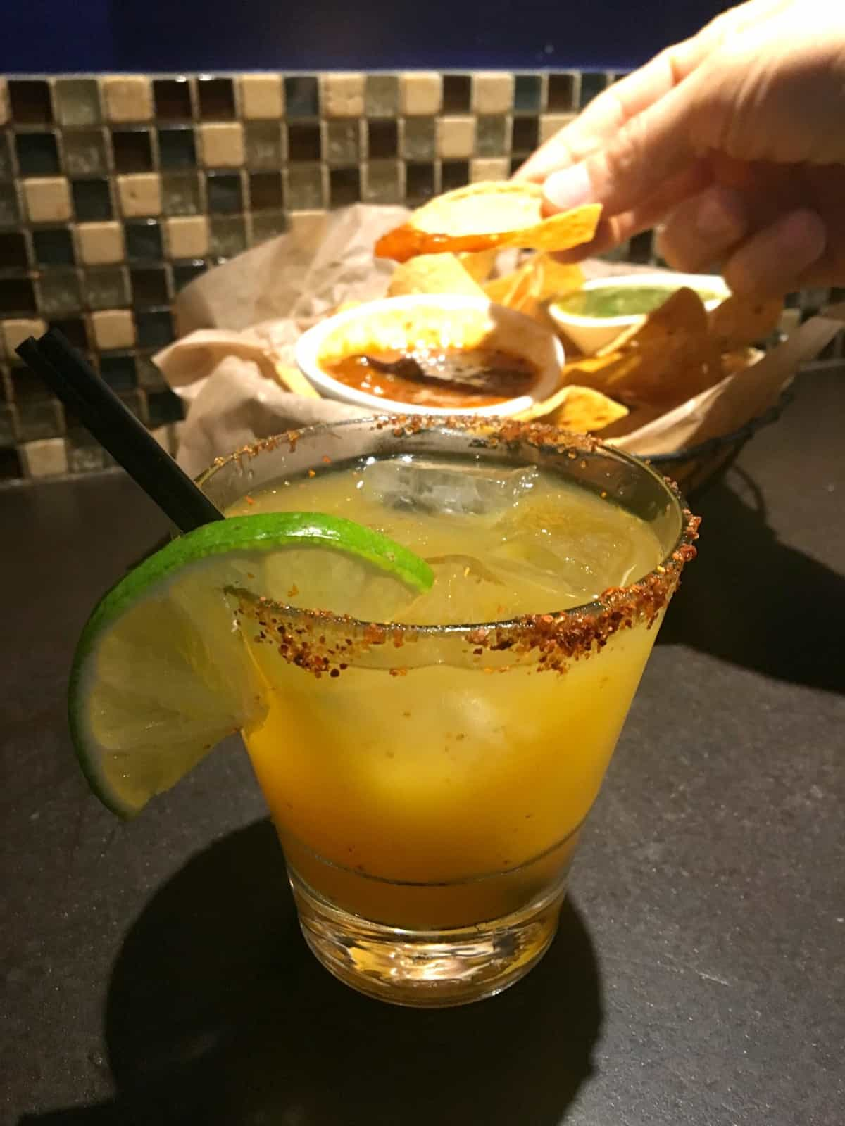 A delicious margarita and chips and salsa from Chicago