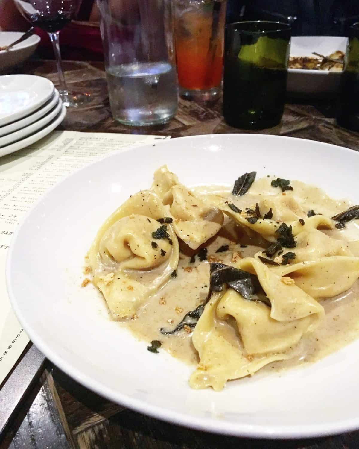 Roasted carrot tortellini in a brown butter sage sauce