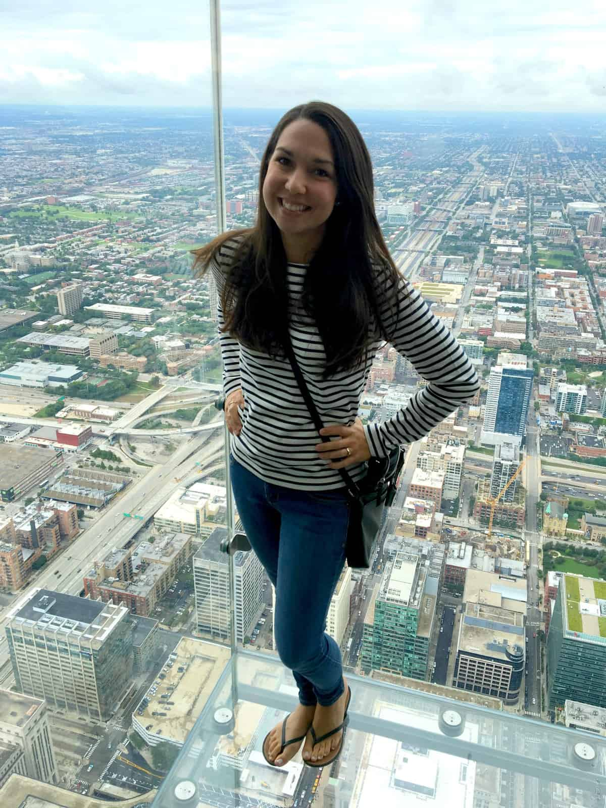 Dianna at the Sears Tower observation deck, overlooking Chicago