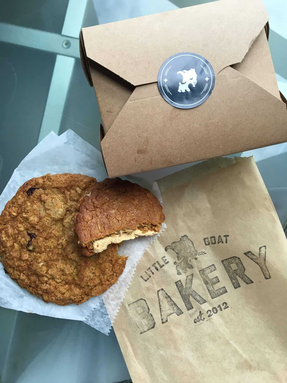 Free oatmeal cookies from the Little Goat Bakery in Chicago