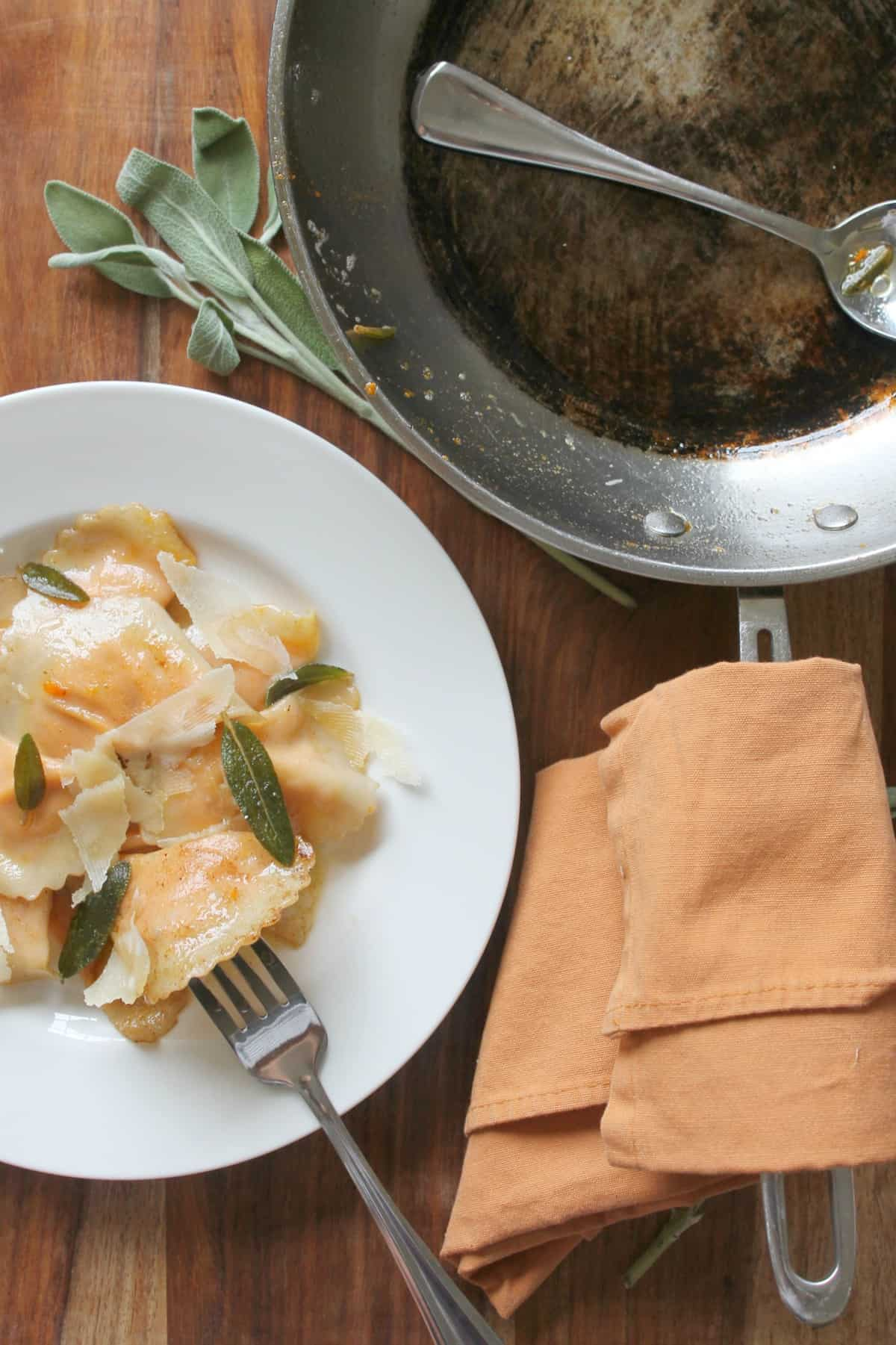 Roasted Carrot Agnolotti recreated from the delicious dinner we had in Chicago
