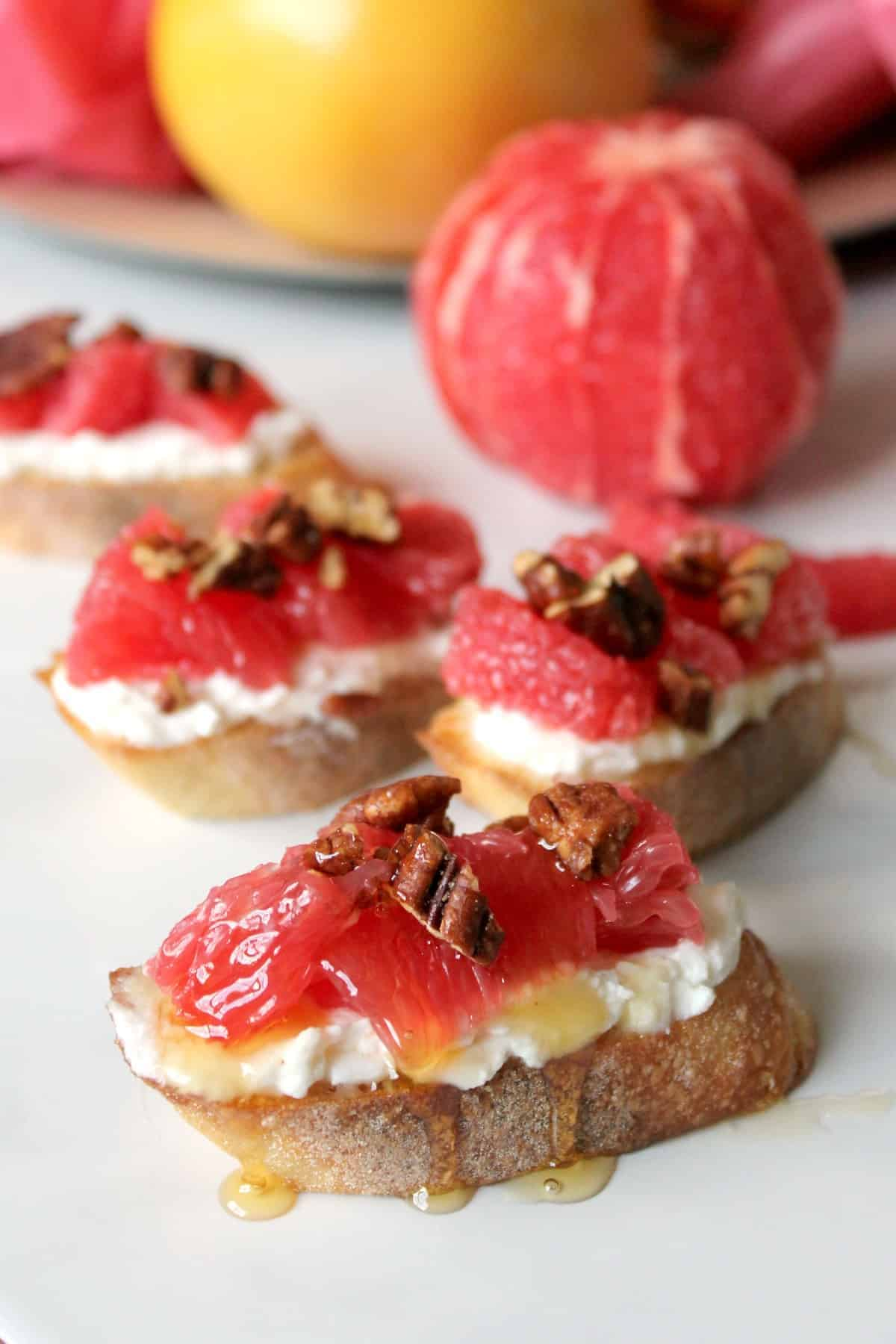 Honeyed Grapefruit & Ricotta Crostini