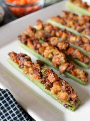 Roasted Celery Boats with Cajun Stuffing via The Kitchen Prep | www.thekitchenprepblog.com