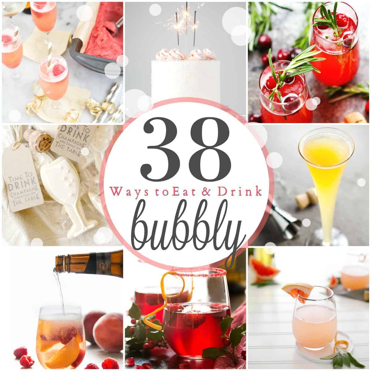 38 Ways to Eat and Drink Bubbly. Add a little sparkle to your New Year's Eve and beyond with this list of 38 food and drink recipes made with champagne, prosecco and cider!