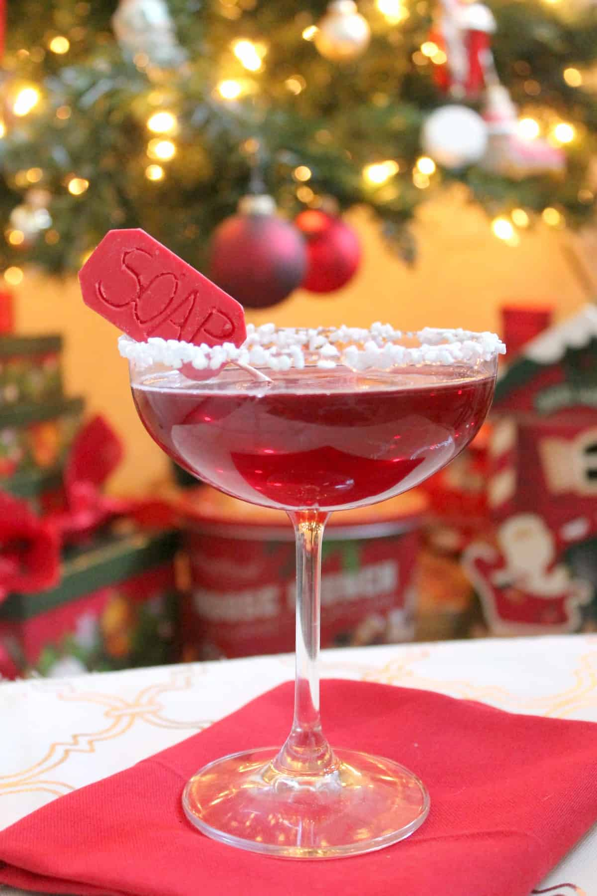 """Oh Fudge!"" Inspired by the Christmas favorite, A Christmas Story, The Lifebuoy Cocktail is anything but a punishment for your taste buds! Flavors of muddled raspberries and vanilla bean simple syrup make this bourbon cocktail a great holiday beverage. No profanity required!"