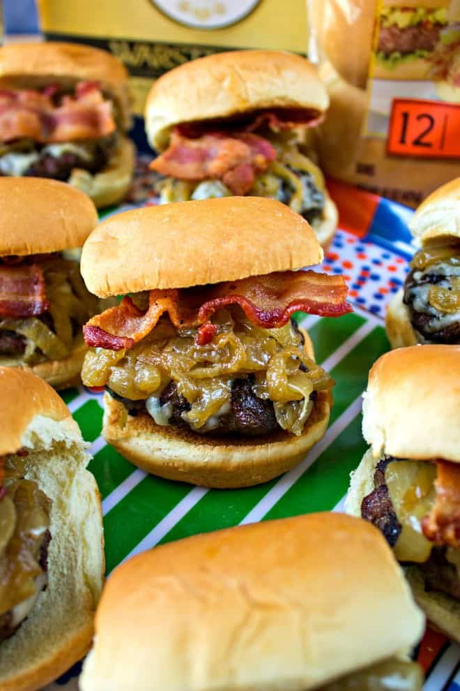 Bacon and Gruyere Sliders with Beer Caramelized Onions