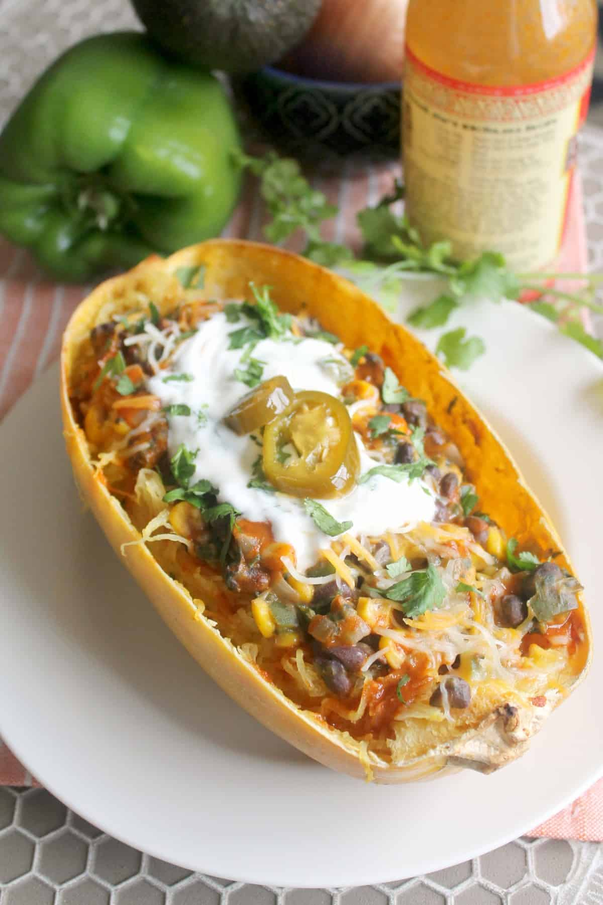 """Veggie Enchilada Bowls make a smart choice any day! Serve """"filling"""" atop spaghetti squash, baked sweet potato, rice or quinoa for a filling, flavorful meal!"""
