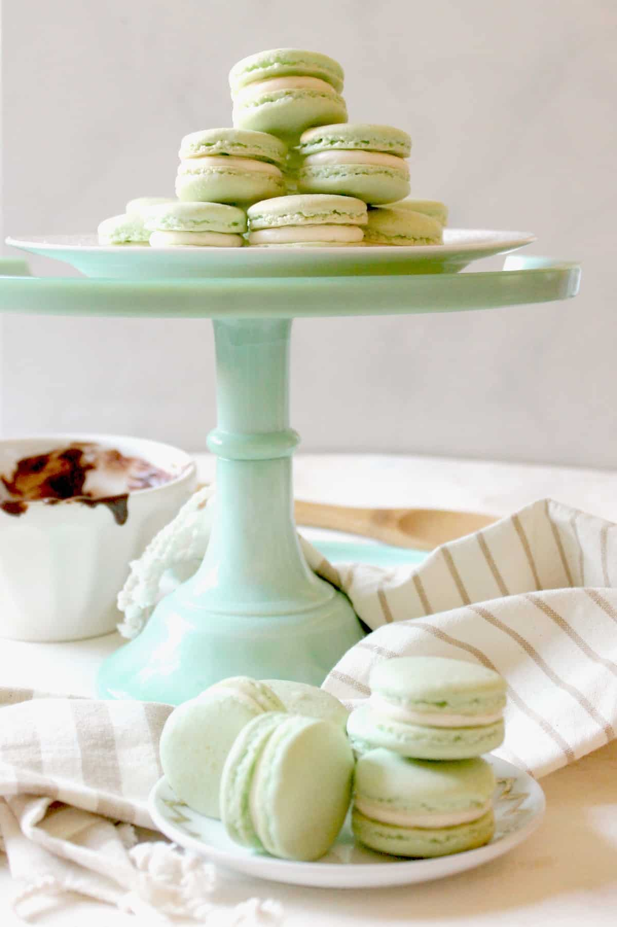 Dainty Irish Cream French Macarons are filled with a sweet chocolate center