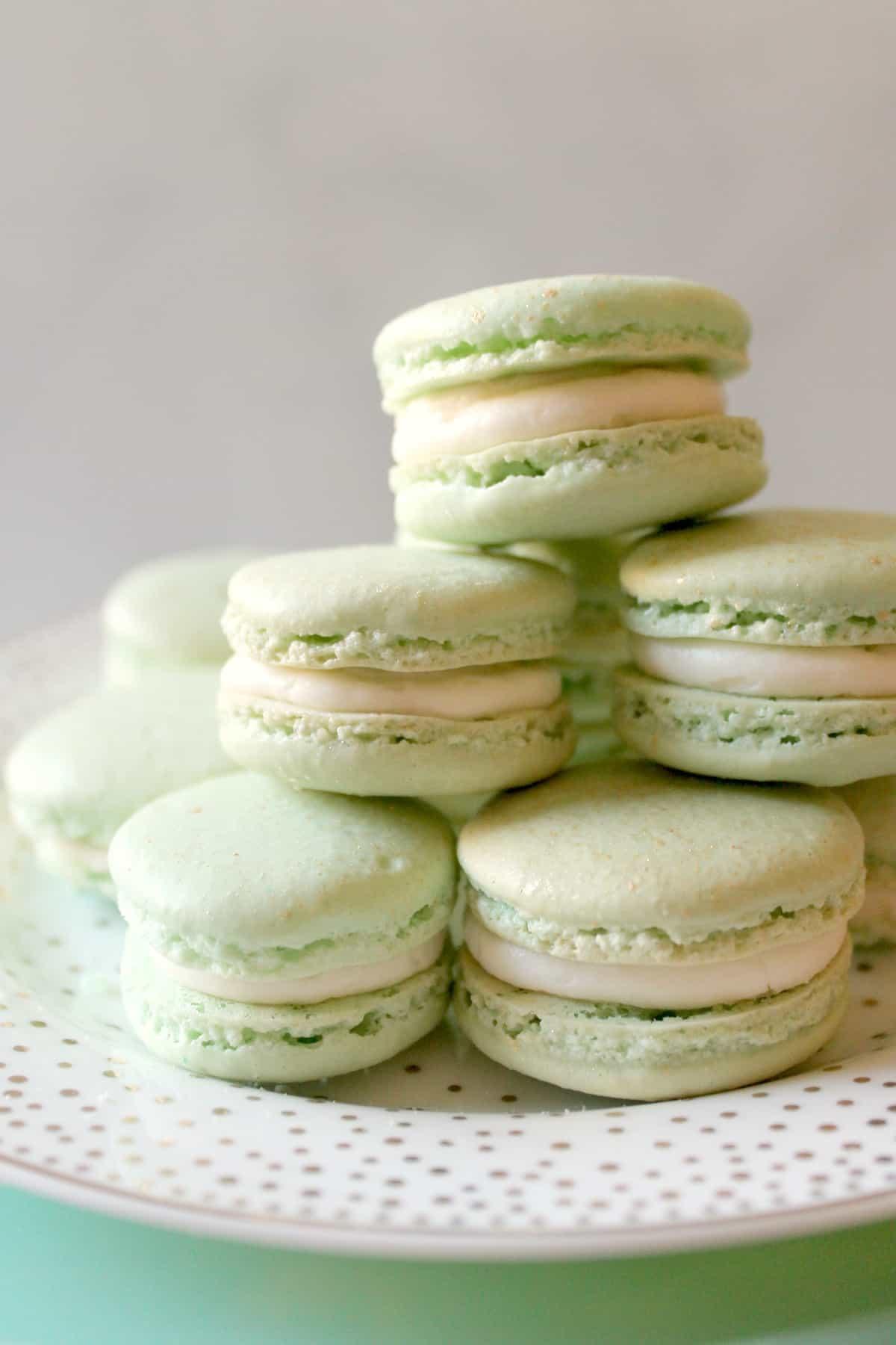 Creamy Irish Cream buttercream and crunchy macron cookies make these Irish Cream French Macarons a sinfully sweet dessert