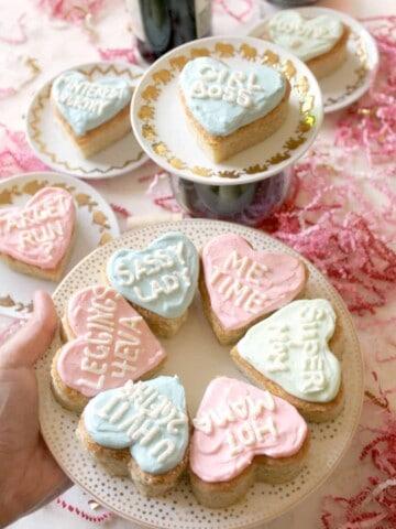 Conversation Heart Cookie Bars