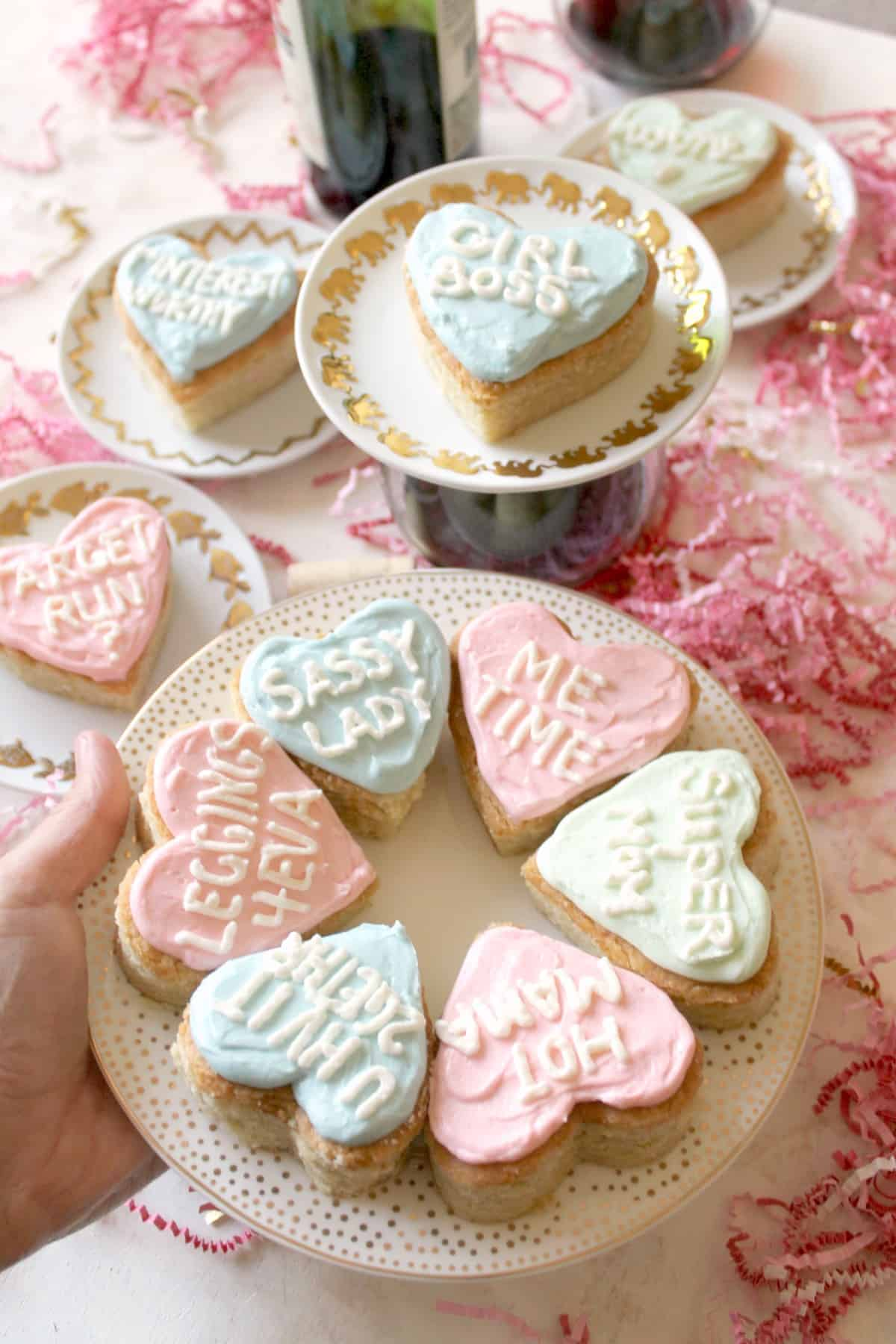 Conversation Heart Cookie Bars