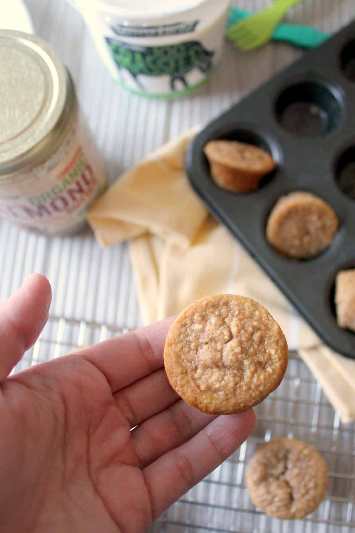 Banana Oat Mini Muffins are an easy snack made entirely in the food processor! Made with oat flour, almond butter & yogurt and sweetened with ripe banana and honey for wholesome munching any time.