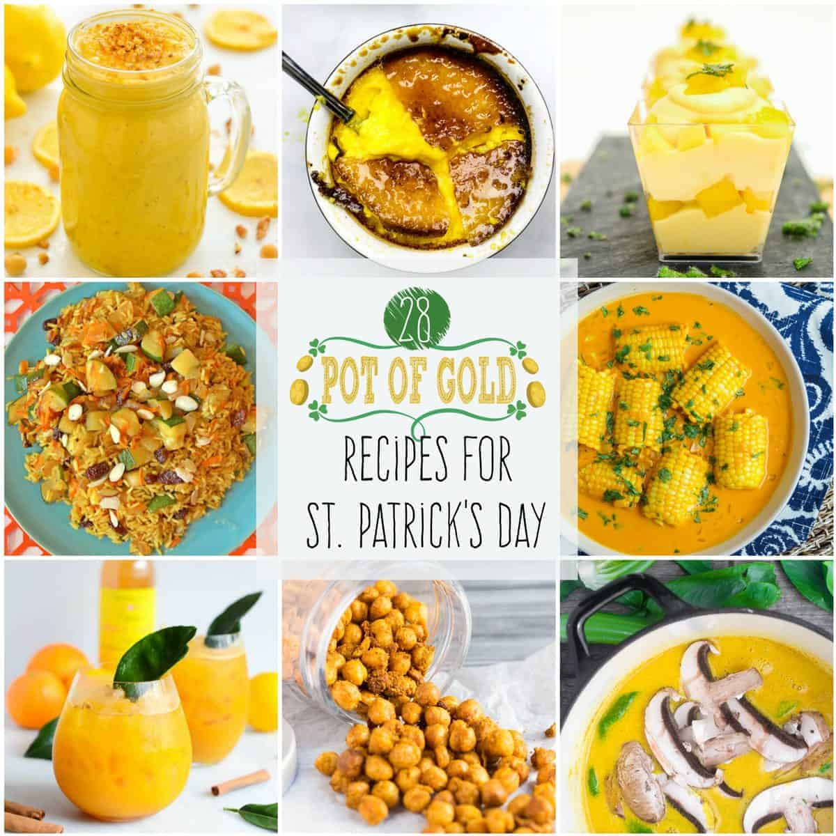 """""""Pot of Gold"""" Recipes for St. Patrick's Day! Wear your green, but keep your food and drinks golden with these gilded recipes!"""
