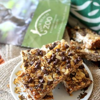 """There's no """"monkey business"""" in these Monkey Bars; nutritious Banana Peanut Butter Chocolate Chip Granola Bars that make a perfectly portable snack! Made with oats, ground flax, chia seeds, peanut butter and banana chips {plus few tablespoons of mini chocolate chips, if you wish} these wholesome granola bars are the ultimate """"fun fuel."""""""