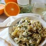 Citrusy Spinach, Olive, Feta & Pine Nut Pasta Salad