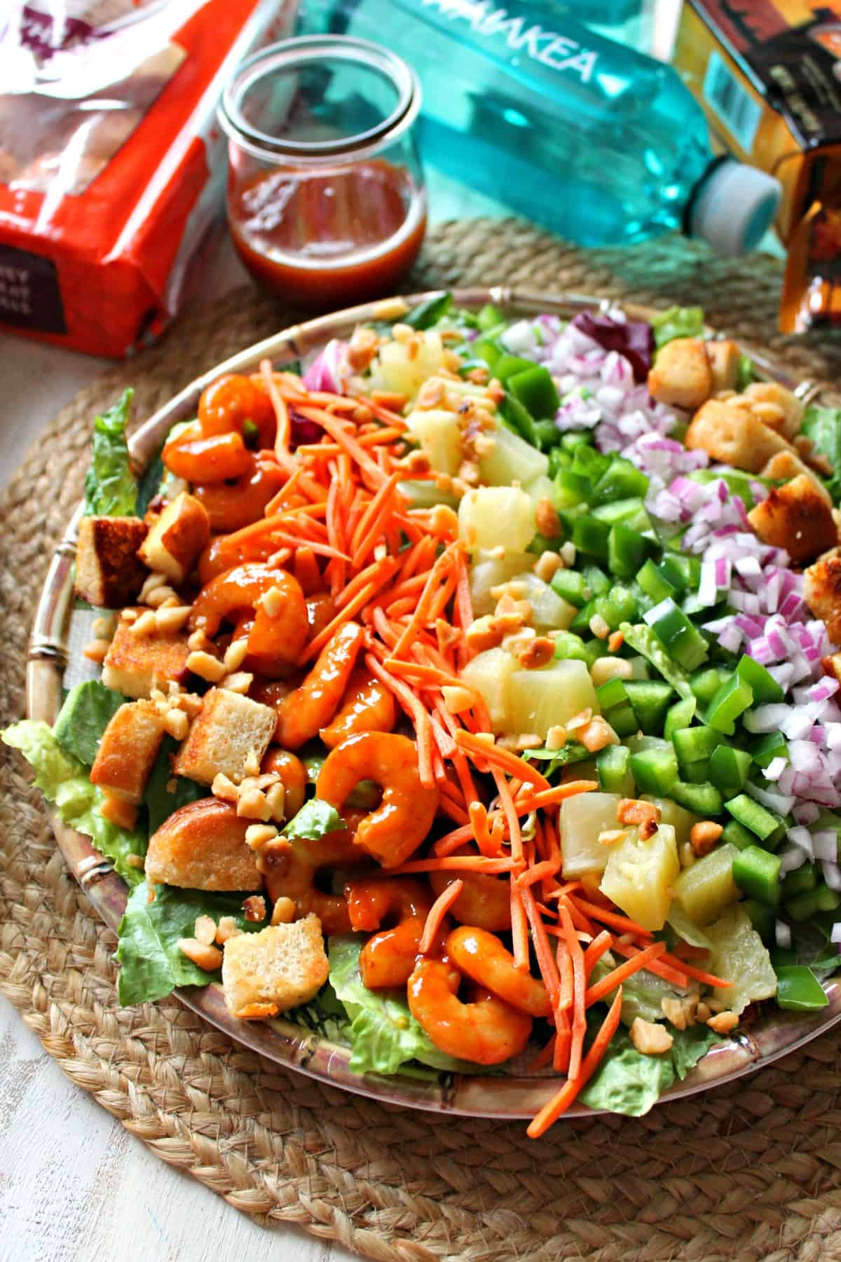 This colorful and fresh BBQ Shrimp Cobb Salad is a rainbow of vegetables and sweet Hawaiian chicken