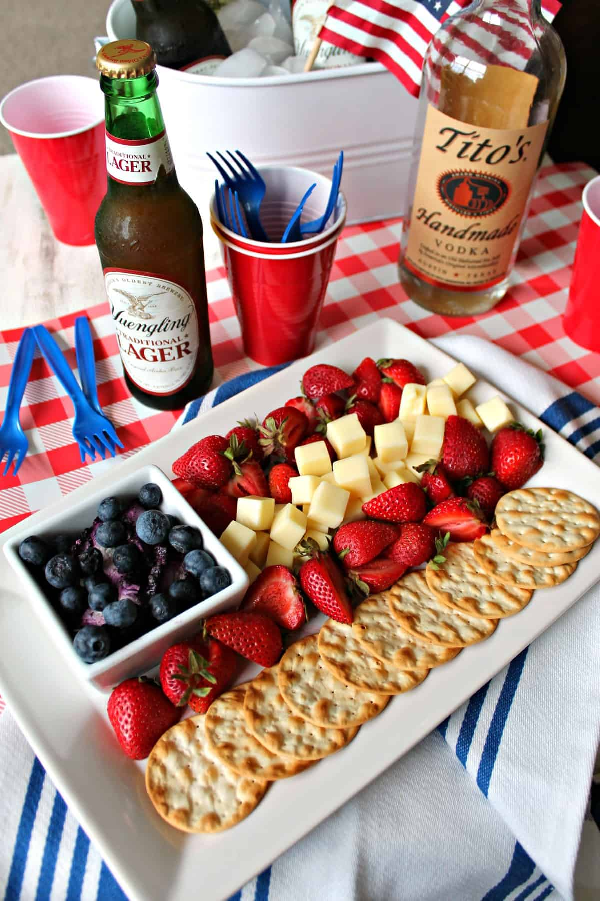 This fruit and cheese platter is the perfect 4th of July party snack