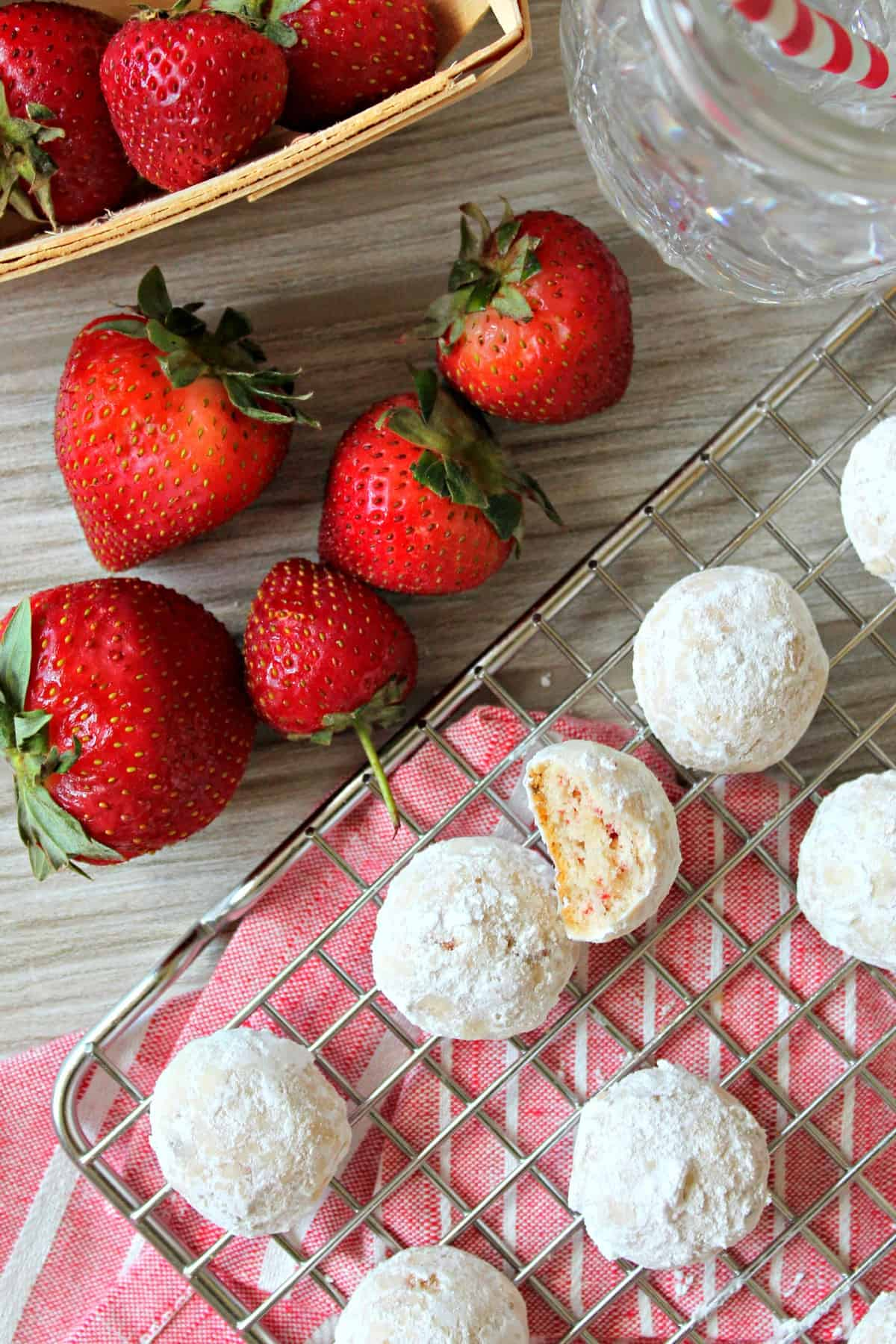These sweet, buttery strawberry meltaway cookies are the perfect cookie, coated with powdered sugar and sweet bits of strawberry inside
