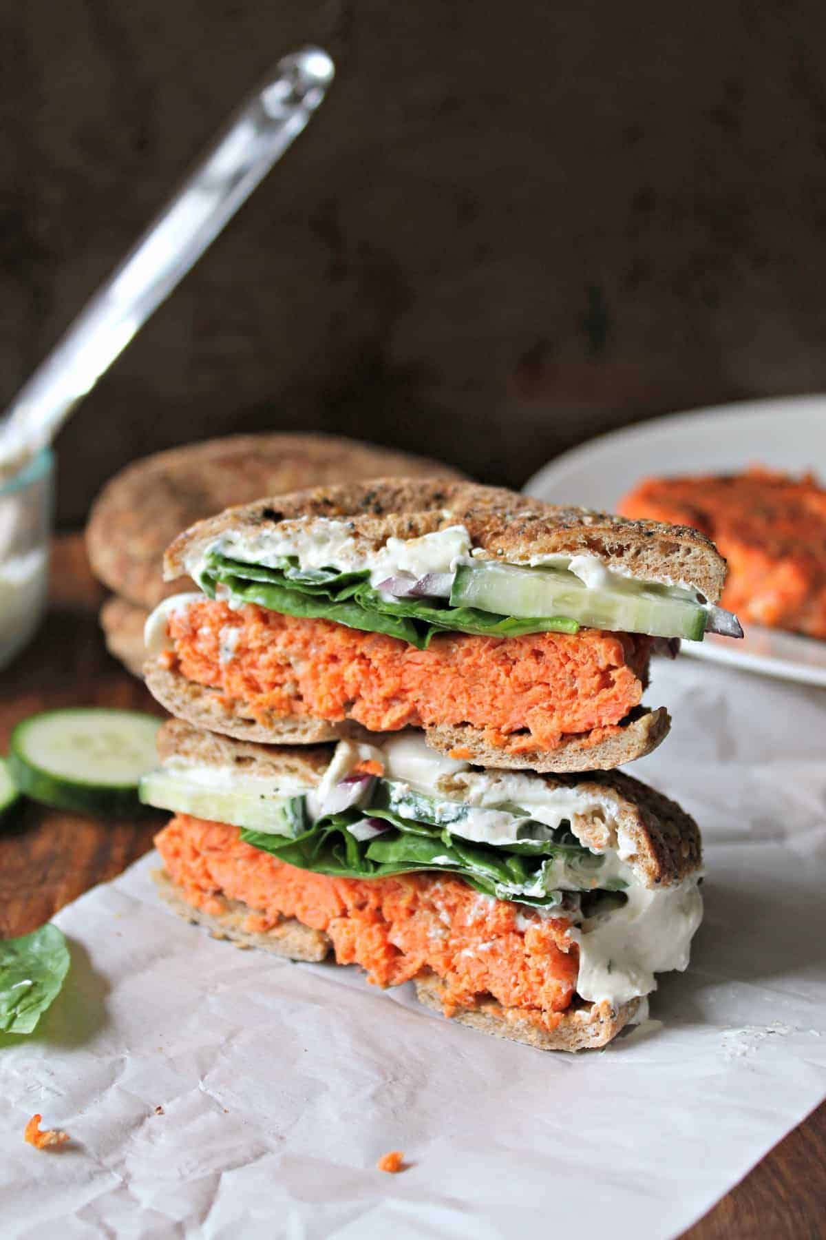 "Smoky Salmon Bagel Burger with Garlic-Dill Schmear! Love bagels and lox? You'll go ""wild"" over these simply gratifying salmon burgers made with wild-caught Alaska salmon. They're a quick, versatile bite that works for brunch, lunch or dinner!"