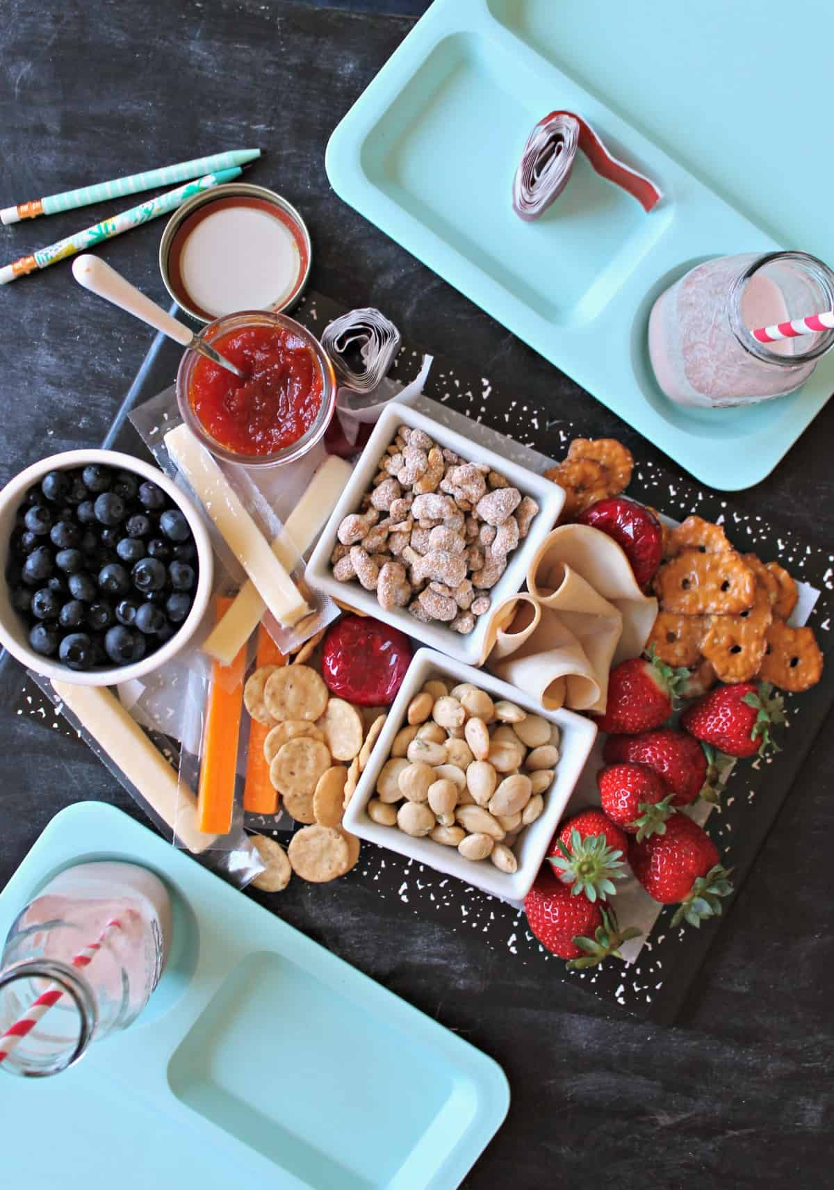 "Hip, Hip, Hooray, Back-to-School saves the day! Celebrate a new school year with your parent pals by throwing a whimsical party with a ""berry"" delicious twist! A 'school days' themed setting is one you can share with guests both big and small , but the addition of grown-up touches like a ""Strawberry Milk"" Cocktail makes it a celebration especially for adults."