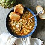 Tortellini Artichoke Pesto Soup