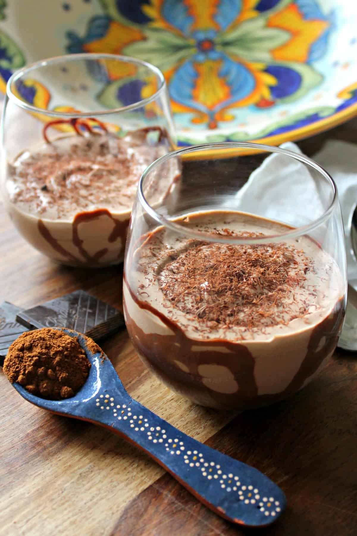 Mexican Chocolate Yogurt Mousse Cups! The warm, rich flavors of cinnamon-scented Mexican hot chocolate are present in this smooth, creamy treat.