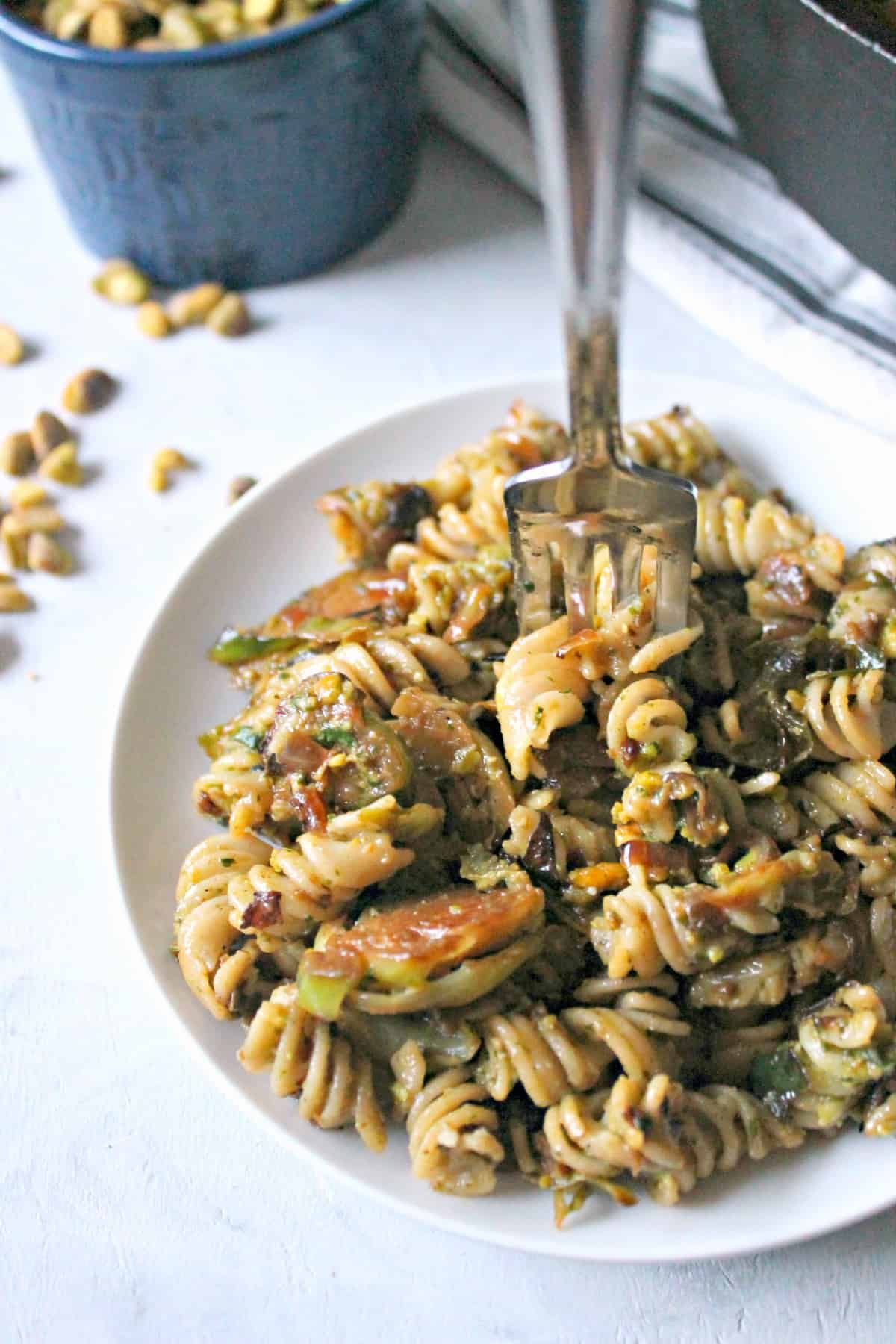 Perfectly caramelized Brussels sprouts and pistachio pesto add an incredible flavor to this hearty pasta skillet that's easy enough for a weeknight meal.