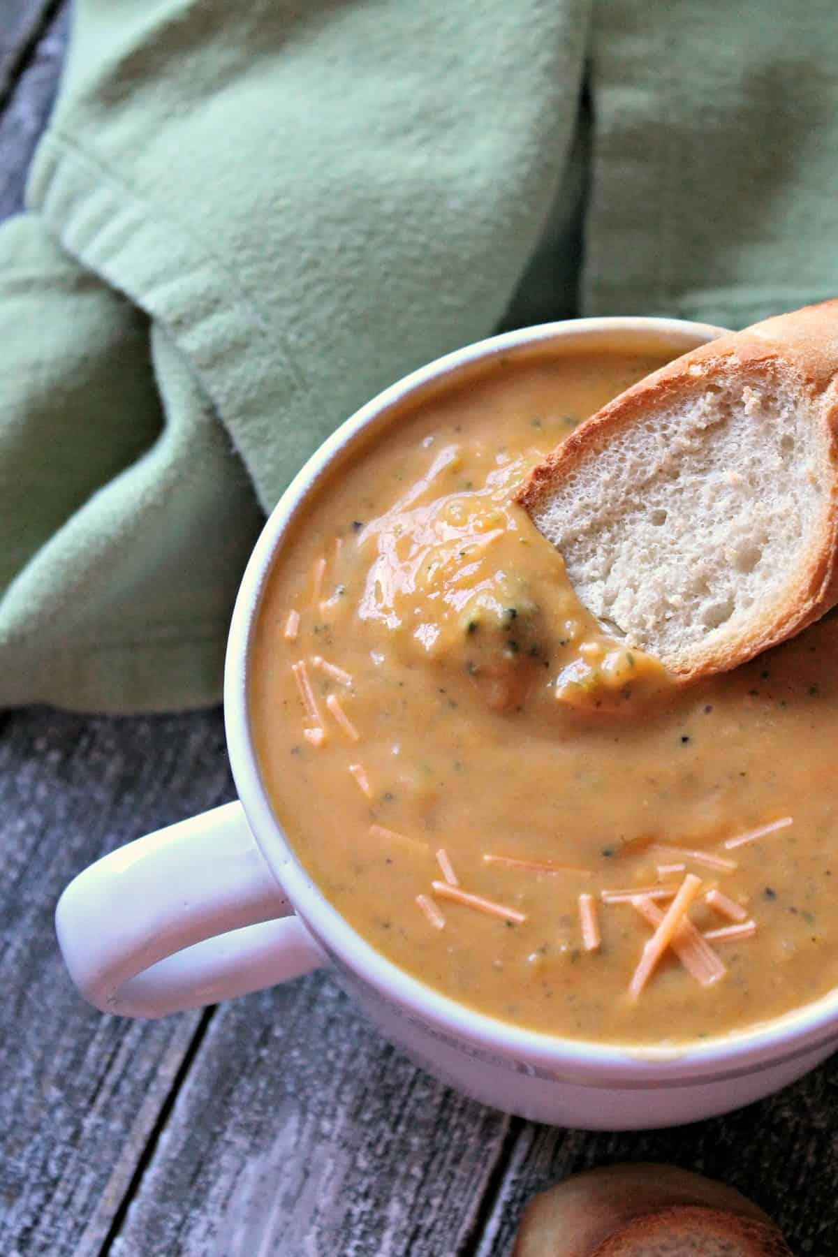 """""""Better For You"""" Creamy Broccoli Cheddar Soup! No one will believe that this satisfying soup is actually good for you thanks to the sneaky addition of extra veggies & surprise ingredient that acts as a thickener."""