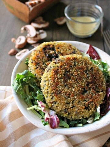 Mushroom, Spinach & Swiss Brown Rice Patties! A vegetarian approach to a hearty burger; filled with earthy mushrooms, nutritious spinach, melty Swiss cheese and crisp exterior.