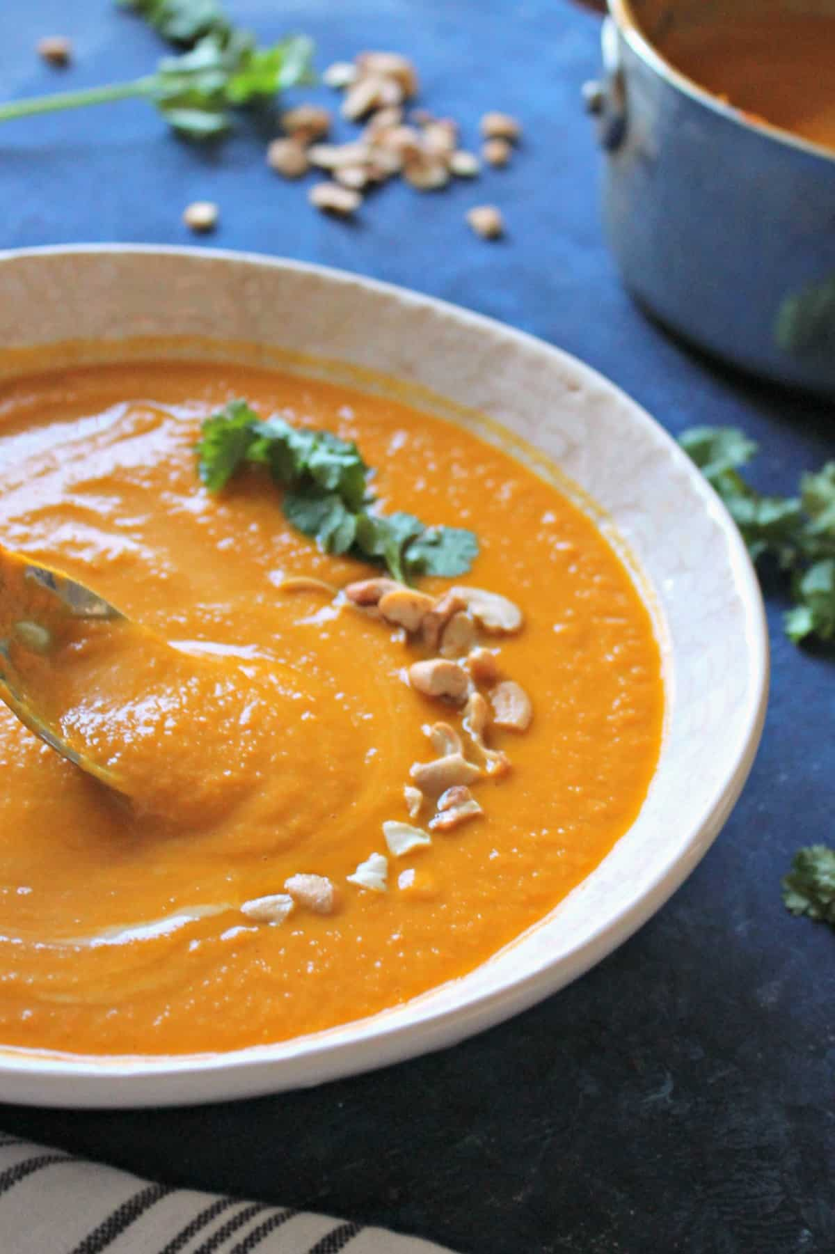 This creamy carrot ginger soup recipe is hearty and filling, and completely dairy free. It's a perfect, healthy comfort food