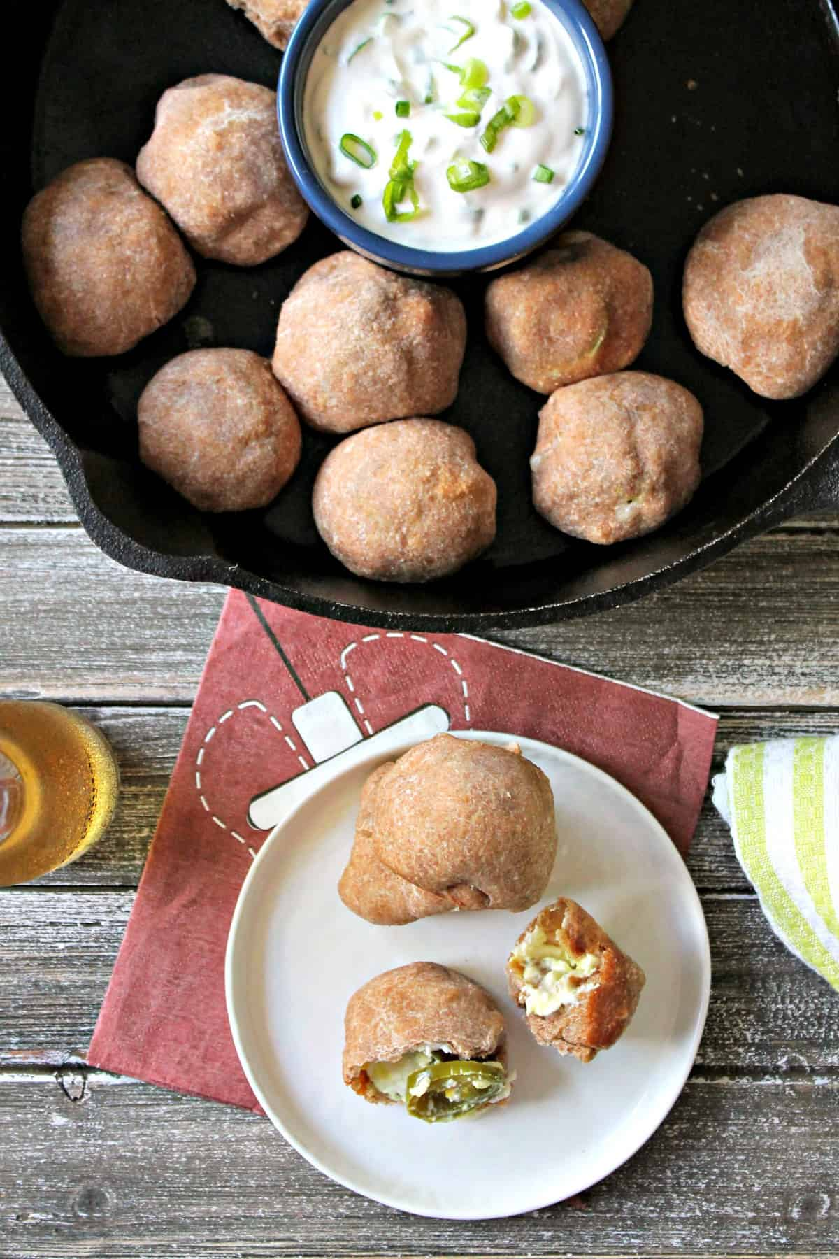 Easy Jalapeño Popper Bombs! Just 5 ingredients are all it takes to wow the crowd with these spicy, cheesy bites that make an excellent game day appetizer.