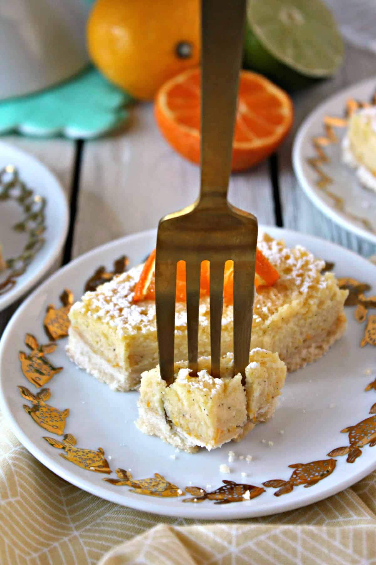 Vanilla Bean Citrus Bars! A crisp, shortbread crust is topped with a layer of sweet, citrusy filling speckled with fragrant vanilla beans. These are the stuff of potluck dreams!