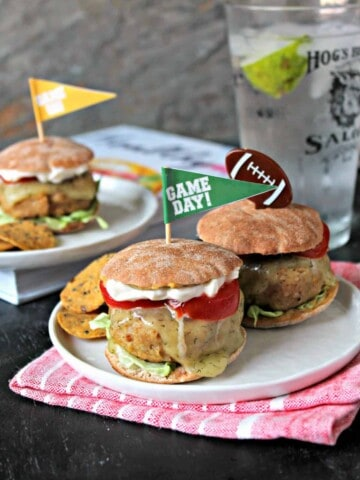 """Turkey and Chickpea Sliders with Dill Havarti. Game day burgers take a """"Healthyish"""" turn with these tender protein-packed sliders. The chickpeas are undetectable, but melted Dill Havarti shines as a flavorful topping."""