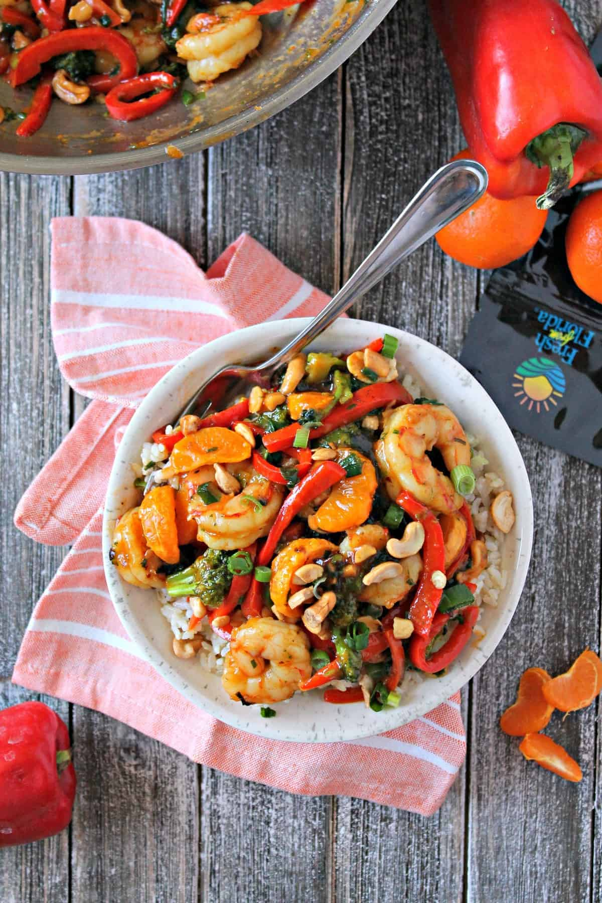 This Asian inspired shrimp and vegetable stir fry is a delicious, fresh, flavorful stir fry dish that's colorful and packed with delicious veggies