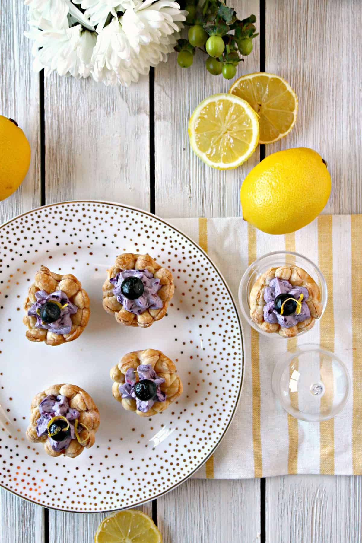 These sweet blueberry puff pastry blossoms have a hint of lemon for a fresh, fruity zing